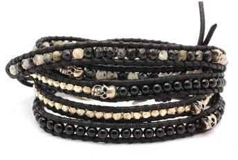 Chan Luu Multi Stone and Skull Wrap Bracelet