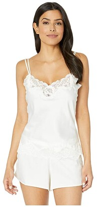 Lauren Ralph Lauren Signature Satin Lace Tap Set (Ivory) Women's Pajama Sets