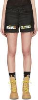 Off-White Black Denim Roses Shorts