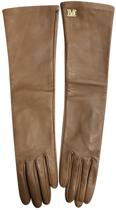Max Mara Camel Leather Gloves