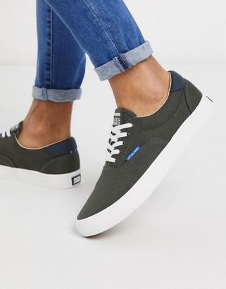 Jack and Jones canvas sneakers in khaki