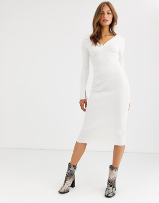 ASOS DESIGN pleat detail knit midi dress with deep v-Cream