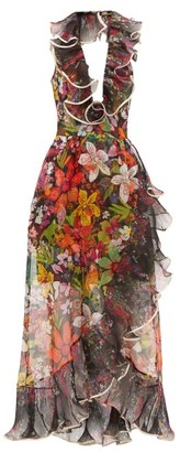 Dundas Ruffled Floral Silk-organza Dress - Black Multi
