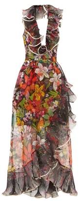 Dundas Ruffled Floral Silk-organza Dress - Womens - Black Multi