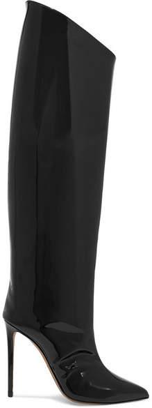 Alexandre Vauthier Alex Patent-leather Knee Boots - Black