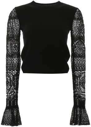 Alexander McQueen Lace Sleeved Pullover