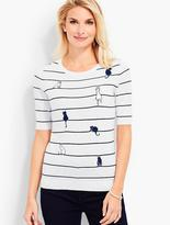 Talbots Stripes & Embroidered Cats Sweater