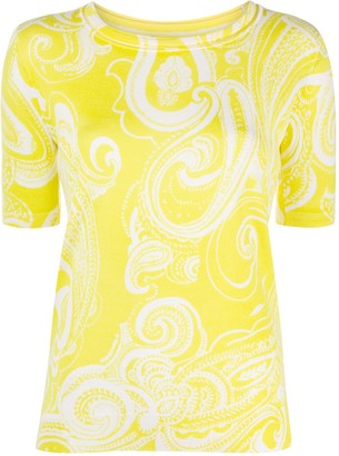Escada Paisley Pattern Short Sleeve Top
