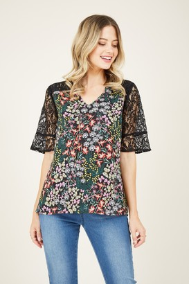 Yumi Black Butterfly Lace Top