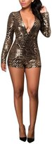 Relaxlama Women's Sequins Long Sleeve Backless V-neck Jumpsuits Rompers Black&