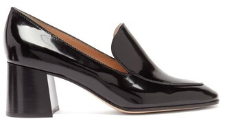 Gianvito Rossi Block-heel 60 Patent-leather Loafers - Black