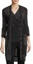 Fuzzi Long Check-Print Cardigan, Black