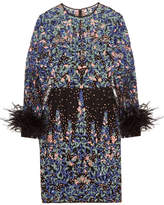 Zuhair Murad - Feather-trimmed Embroidered Silk-blend Tulle Mini Dress - Blue