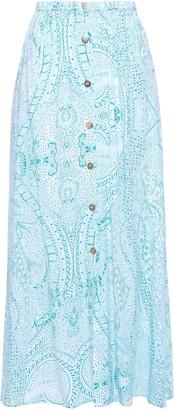 Melissa Odabash Daisy Printed Voile Midi Skirt