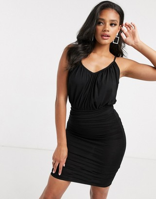 ASOS DESIGN cami ruched blouson top mini dress in black