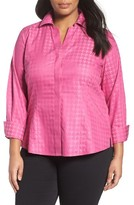 Foxcroft Plus Size Women's No-Iron Houndstooth Jacquard Shirt
