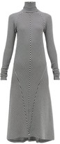 Haider Ackermann Striped Roll-neck Wool Dress - Womens - Black White