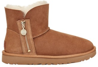UGG Mini Bailey Zip Sheepskin-Lined Suede Boots
