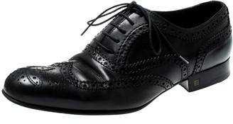 Louis Vuitton Black Brogue Leather Lace Up Oxfords Size 41