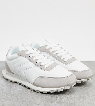 ASOS DESIGN Wide Fit Dani lace up sneakers in white/gray