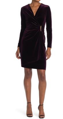 Calvin Klein Velvet Faux Wrap Sheath Dress
