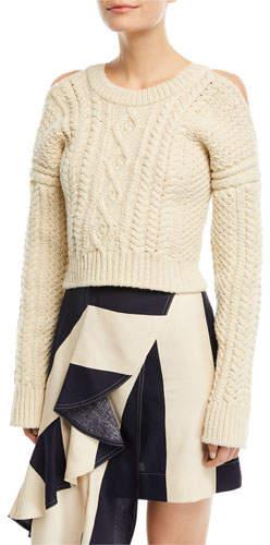 Calvin Klein Cold-Shoulder Cable-Knit Racerback Sweater