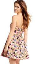 XOXO Juniors Dress, Strapless Floral-Print A-Line