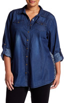 Angie Denim Print Blouse (Plus Size)