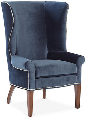 Mr & Mrs Howard Throwback Wingback Chair - Navy Velvet