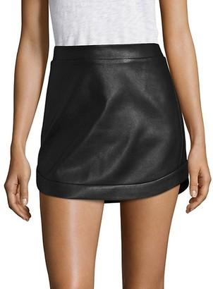 BCBGMAXAZRIA Kanya Curved Hem Leather Mini Skirt