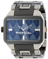 Rockwell Time Unisex DT109 Dual Time Stainless and Black Band and Grey Argyle Watch