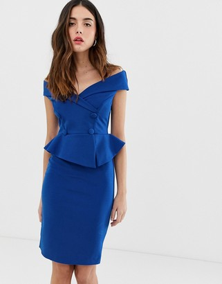 City Goddess bardot pencil dress with peplum detail