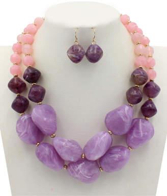 Ella & Elly Women's Earrings Purple - Purple & Pink Beaded Statement Necklace & Drop Earrings