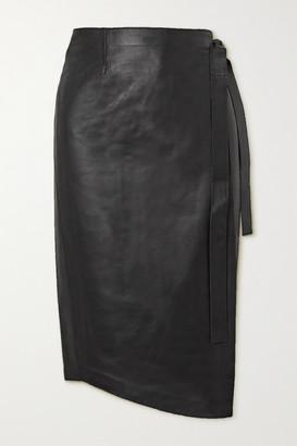 Envelope1976 - + Net Sustain Sarajevo Leather Wrap Skirt - Black