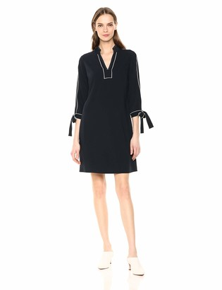Lark & Ro Women's Tie Detail Three Quarter Sleeve Split Neck Shift Dress