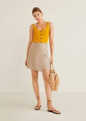 MANGO Linen-blend wrap skirt