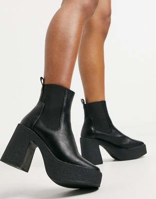 Truffle Collection chunky chelsea heeled ankle boots in black