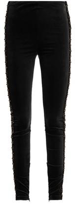Koché Bead-embellished Velvet Leggings - Black