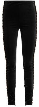 Koché Bead-embellished Velvet Leggings - Womens - Black