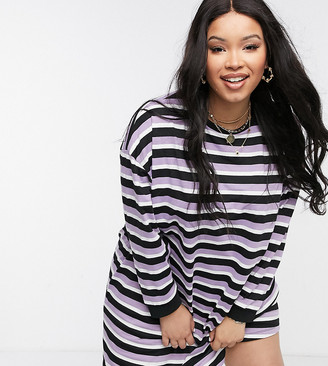 ASOS DESIGN Curve oversized long-sleeved T-shirt dress in lilac and black stripe