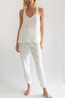 Negative Underwear Supreme Sleep Pant in White + Peach