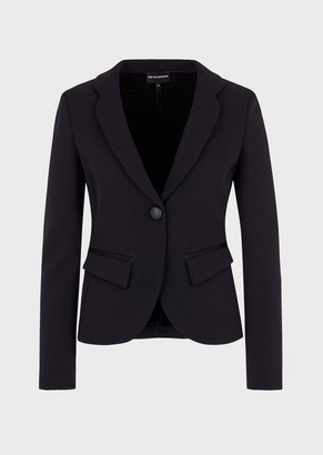 Emporio Armani Single-Breasted Jacket With Wave Micro Pattern