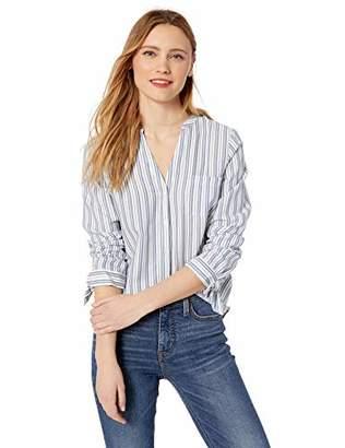 J.Crew Mercantile Women's Tie Sleeve Striped Collarless Button Down Shirt