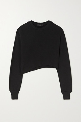 Twenty Montreal Everest Thermal Cropped Asymmetric Waffle-knit Jersey Top - Black