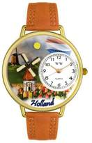 Whimsical Watches Holland Tan Leather and Goldtone Unisex Quartz Watch with White Dial Analogue Display and Multicolour Leather Strap G-1420007