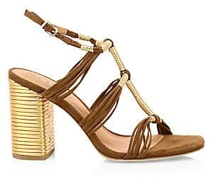 Joie Women's Odell Ribbed Metallic Leather & Suede Sandals