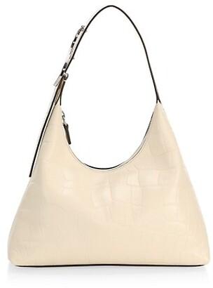 STAUD Scotty Croc-Embossed Leather Hobo Bag