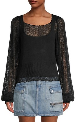 Free People Crystallized Long-Sleeve Pointelle Sweater