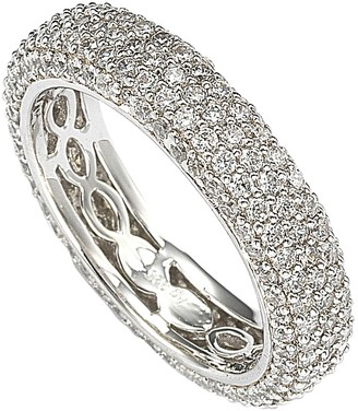 Suzy Levian Sterling Silver Cubic Zirconia White Eternity Band Ring
