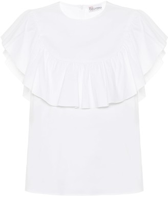 RED Valentino ruffled cotton-blend top